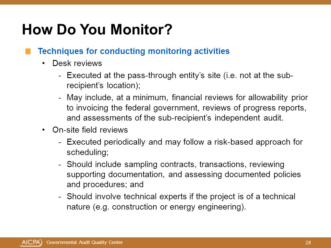 How Do You Monitor Techniques for conducting monitoring activities