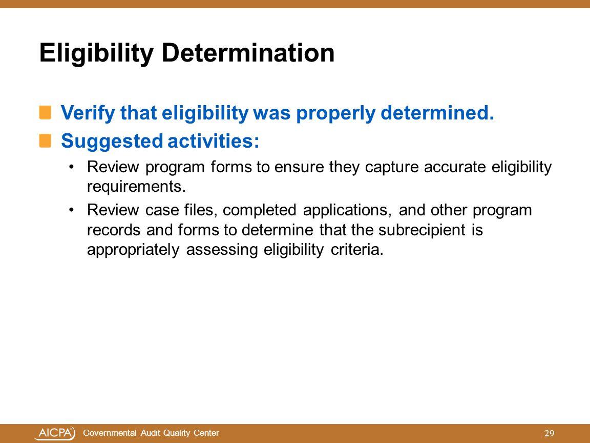 Eligibility Determination