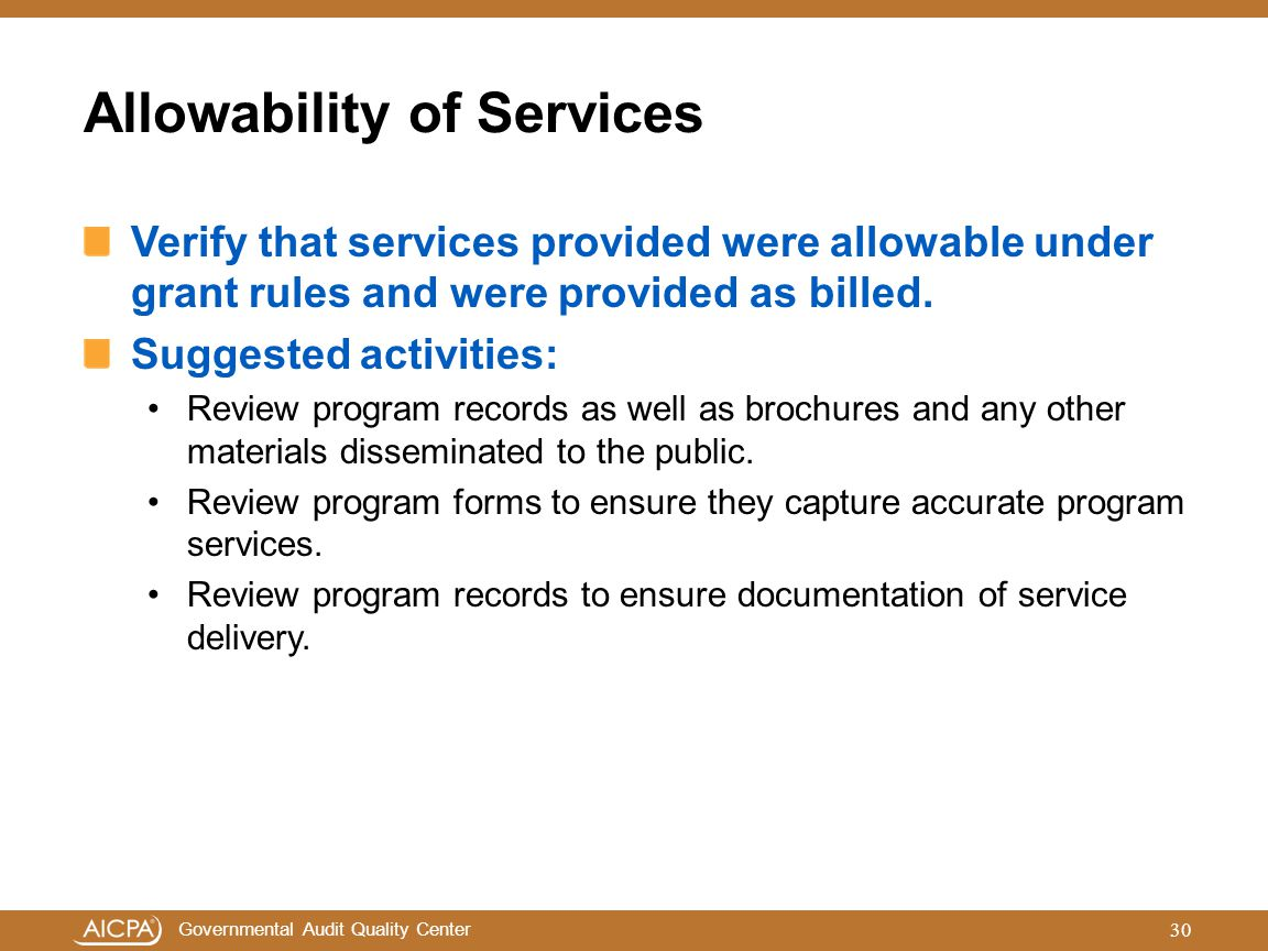 Allowability of Services