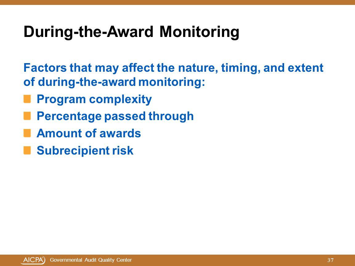 During-the-Award Monitoring