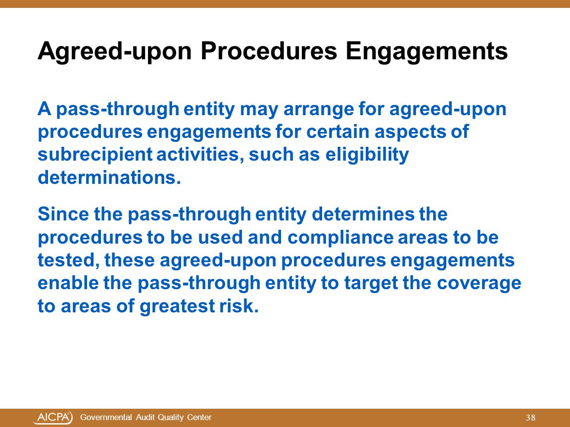 Agreed-upon Procedures Engagements