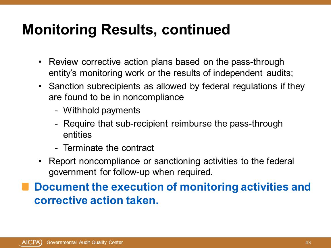 Monitoring Results, continued