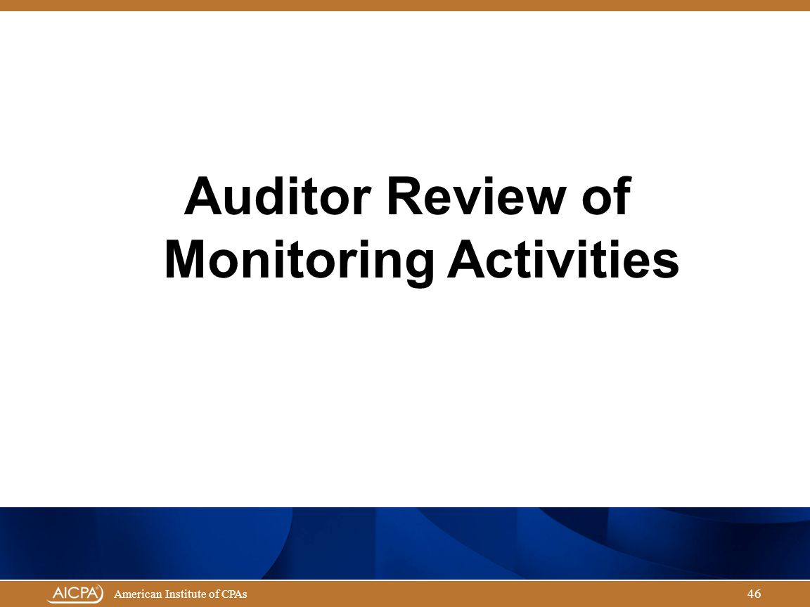Auditor Review of Monitoring Activities