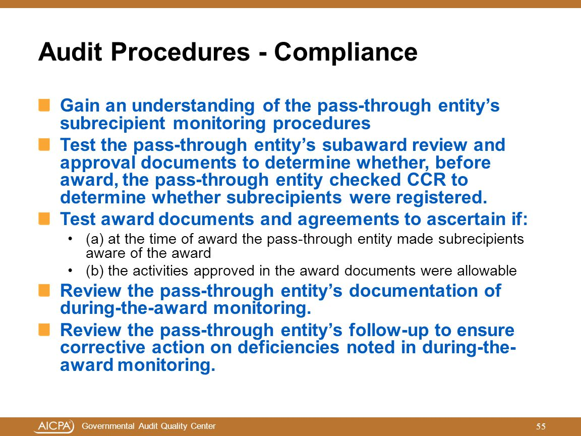 Audit Procedures - Compliance
