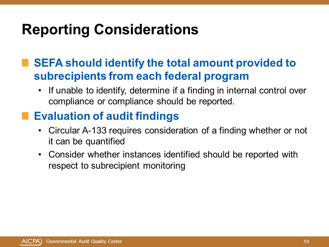 Reporting Considerations
