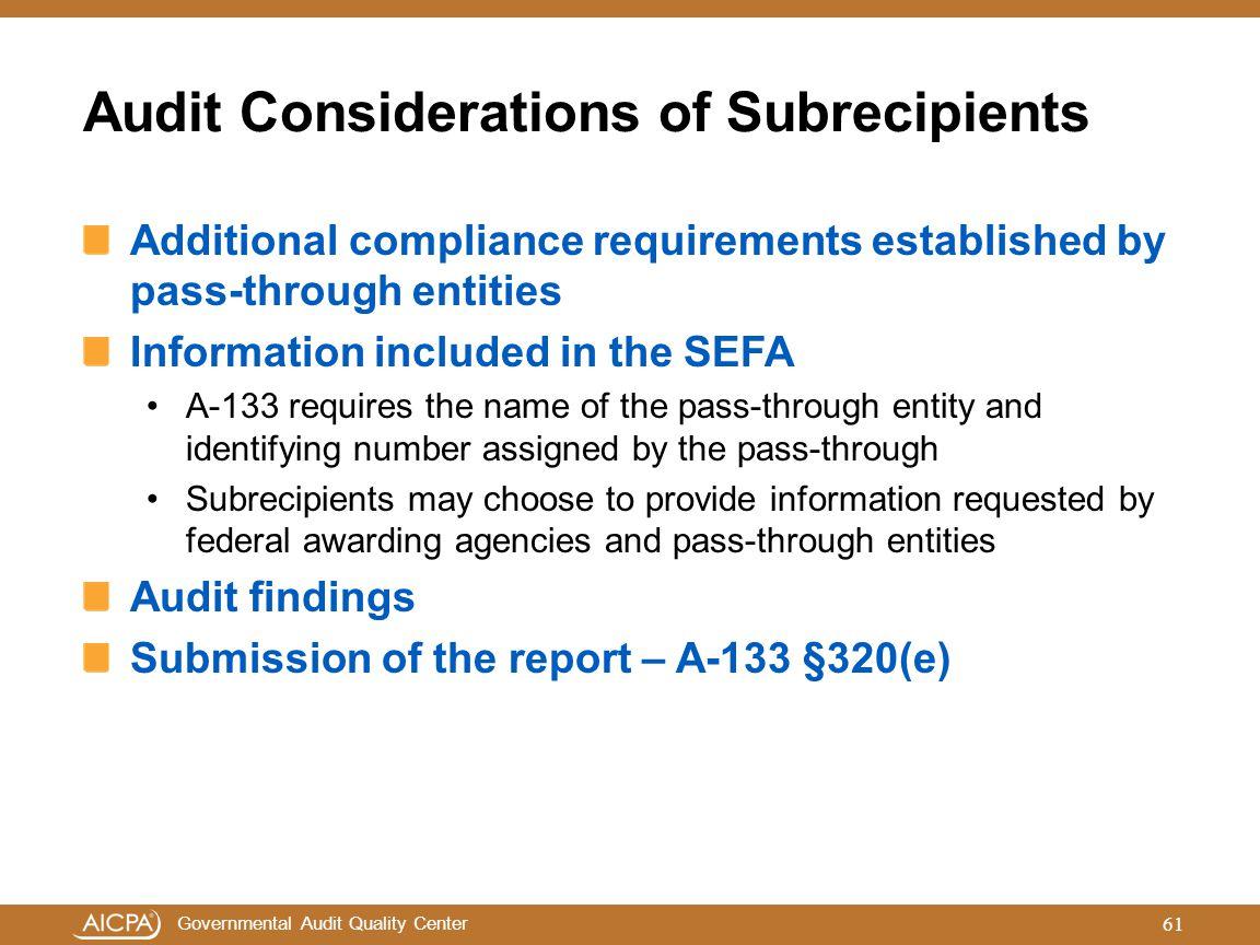 Audit Considerations of Subrecipients