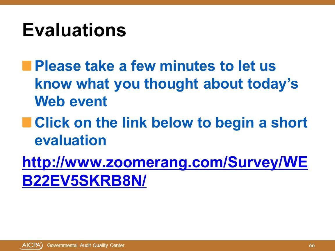 Evaluations http://www.zoomerang.com/Survey/WEB22EV5SKRB8N/