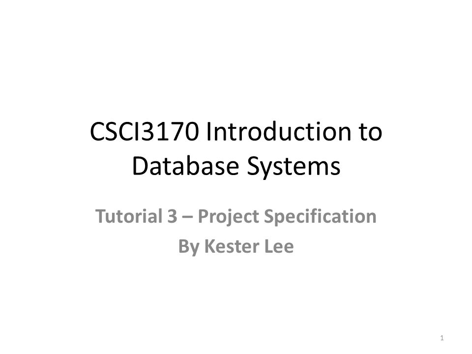CSCI3170 Introduction to Database Systems