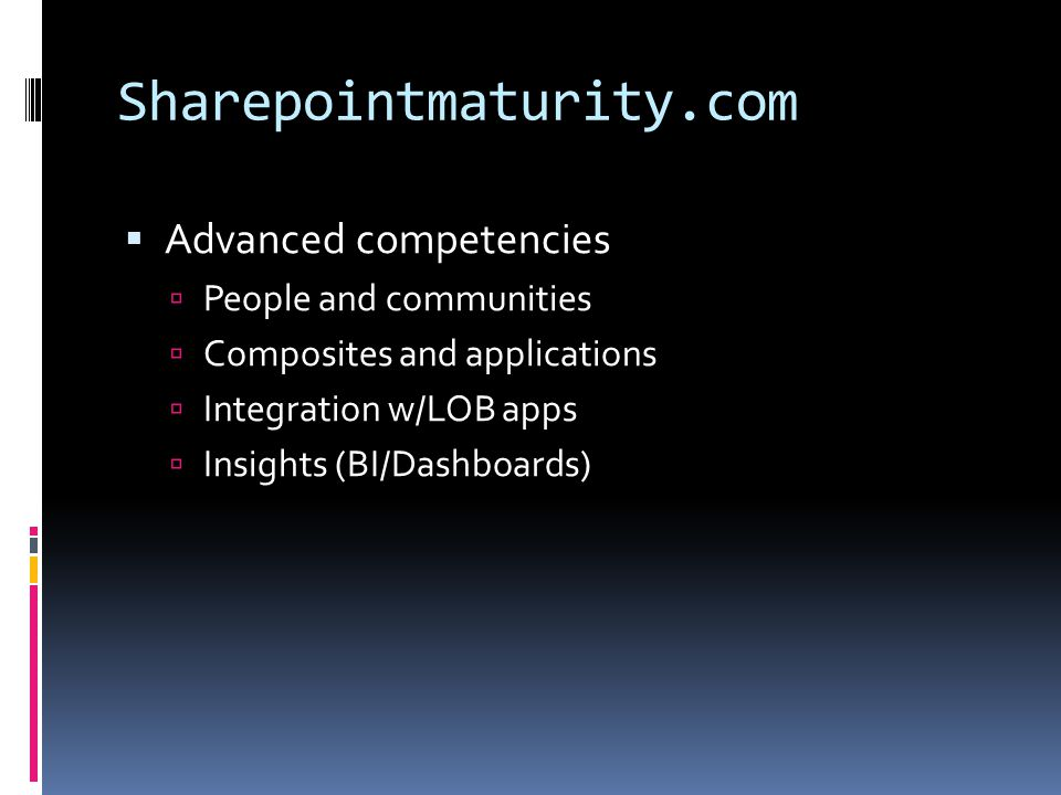 Sharepointmaturity.com Advanced competencies People and communities