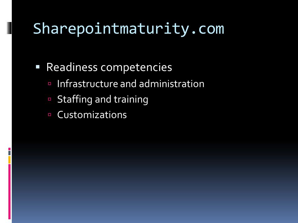Sharepointmaturity.com Readiness competencies
