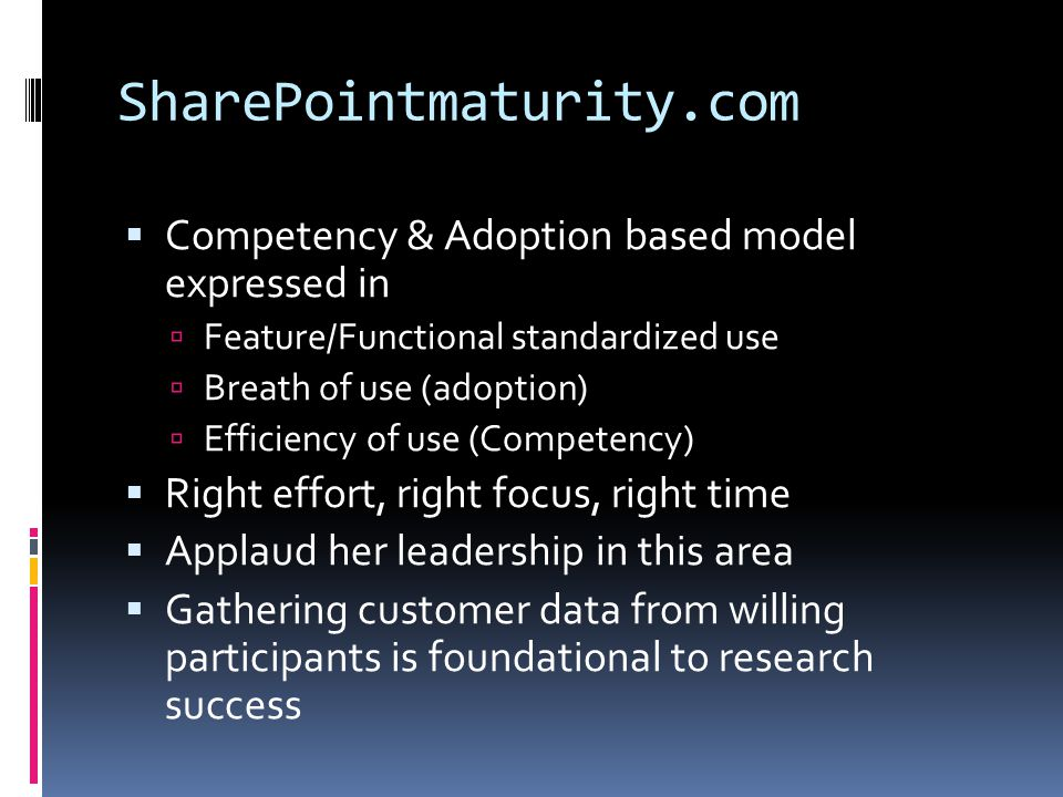 SharePointmaturity.com Competency & Adoption based model expressed in