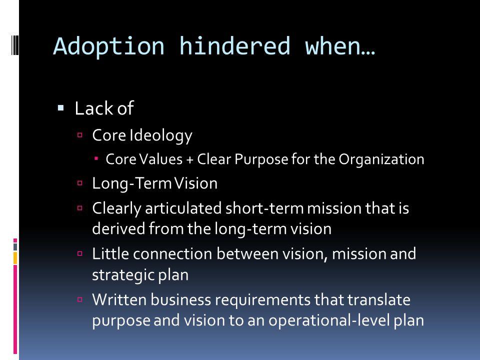 Adoption hindered when…