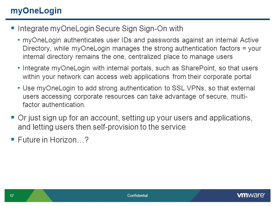 myOneLogin Integrate myOneLogin Secure Sign Sign-On with