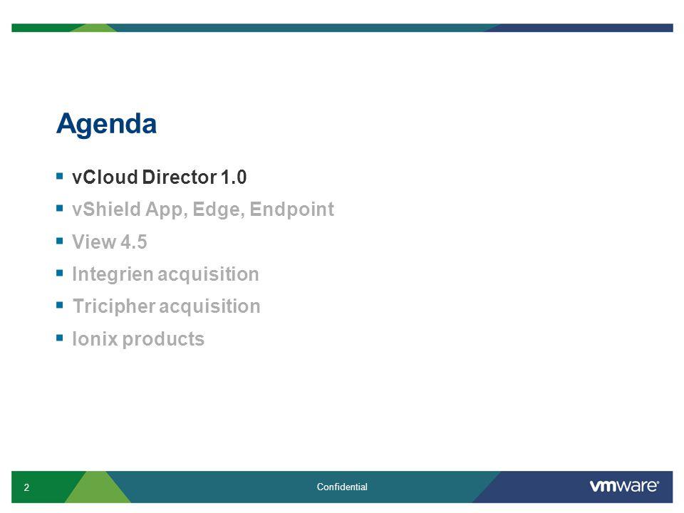 Agenda vCloud Director 1.0 vShield App, Edge, Endpoint View 4.5