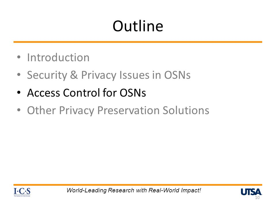 Outline Introduction Security & Privacy Issues in OSNs
