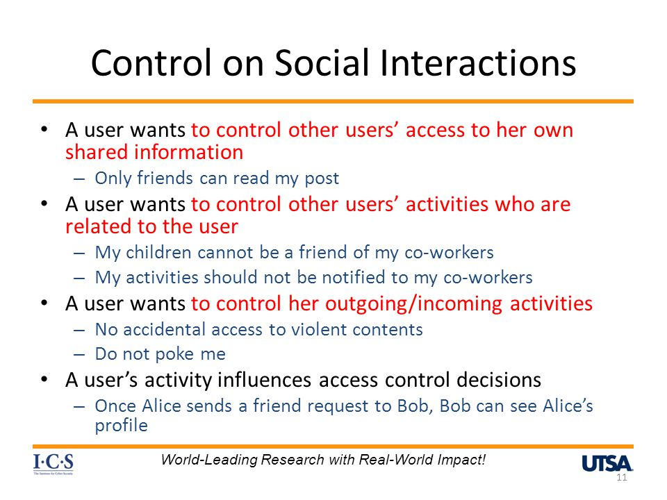 Control on Social Interactions