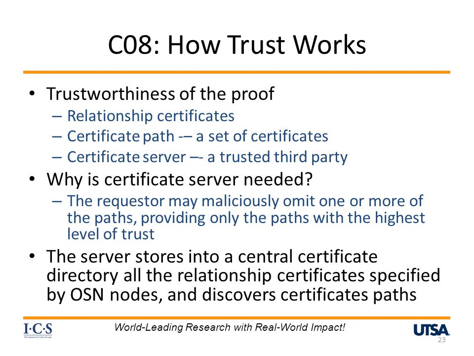 C08: How Trust Works Trustworthiness of the proof