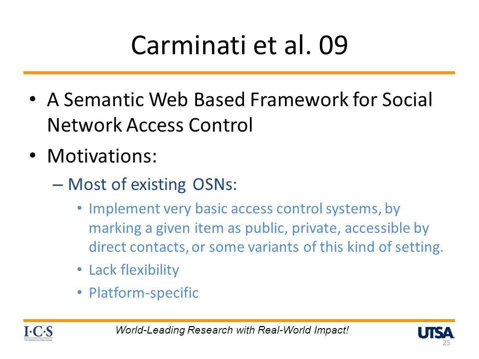 Carminati et al. 09 A Semantic Web Based Framework for Social Network Access Control. Motivations: