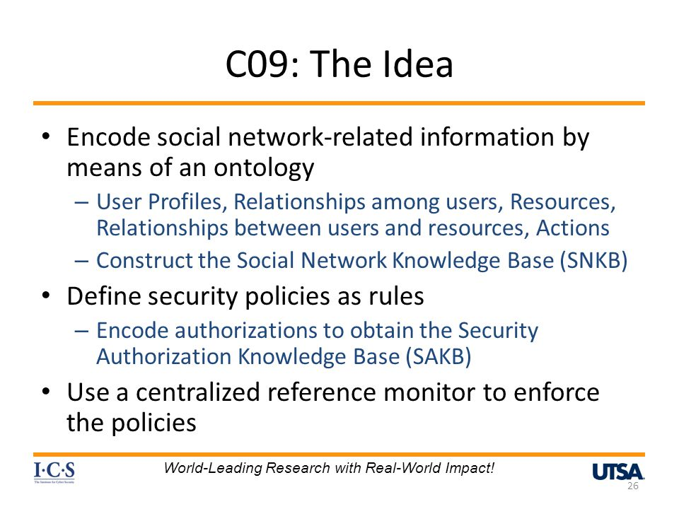 C09: The Idea Encode social network-related information by means of an ontology.