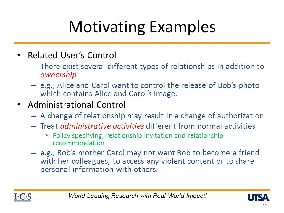 Motivating Examples Related User's Control Administrational Control