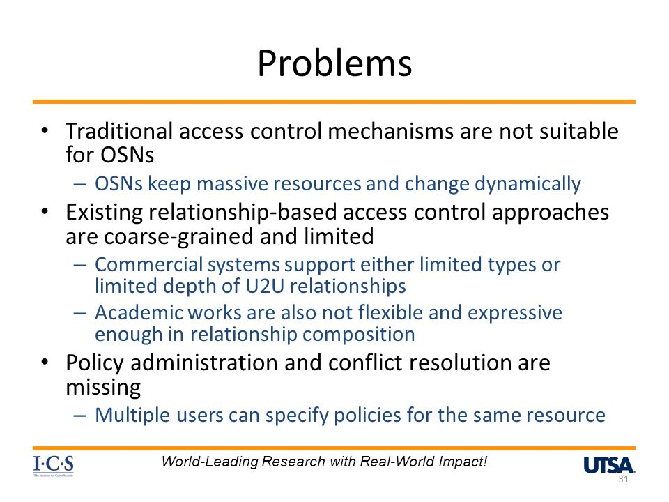 Problems Traditional access control mechanisms are not suitable for OSNs. OSNs keep massive resources and change dynamically.