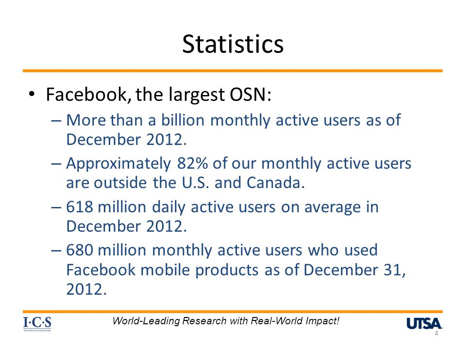 Statistics Facebook, the largest OSN:
