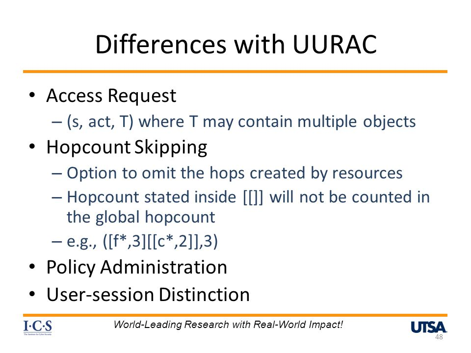 Differences with UURAC