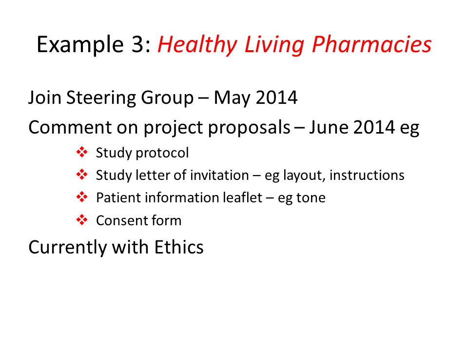 Example 3: Healthy Living Pharmacies
