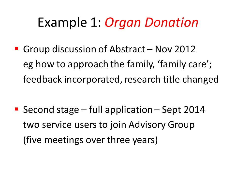 Example 1: Organ Donation