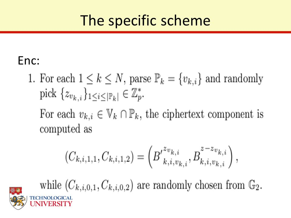 The specific scheme Enc: