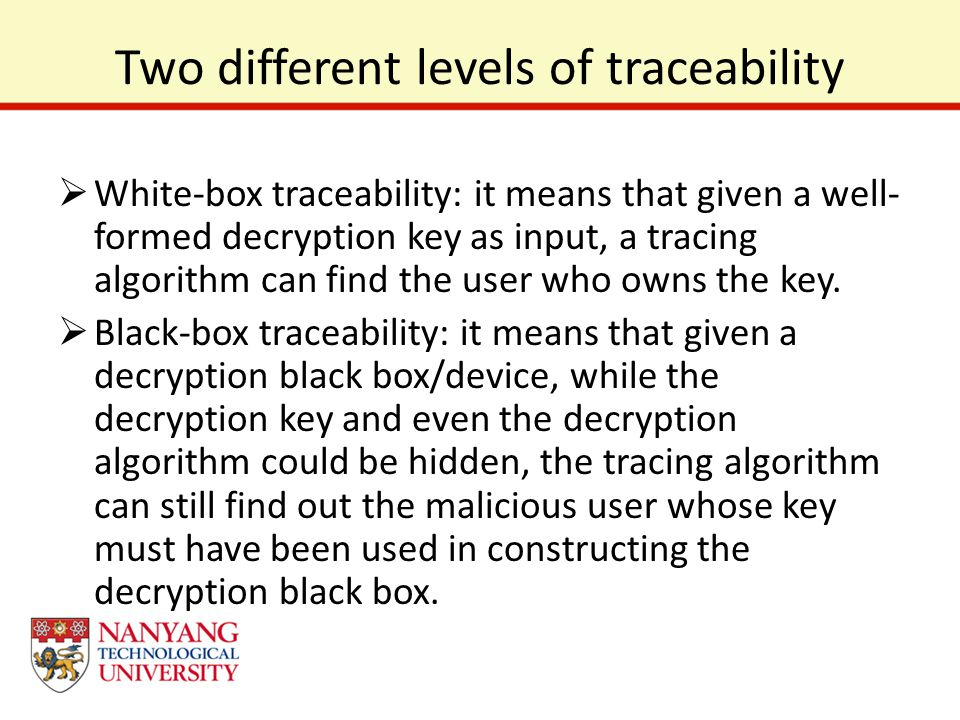 Two different levels of traceability