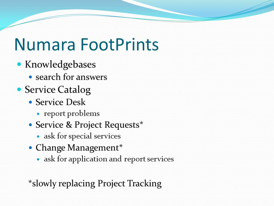 Numara FootPrints Knowledgebases Service Catalog search for answers