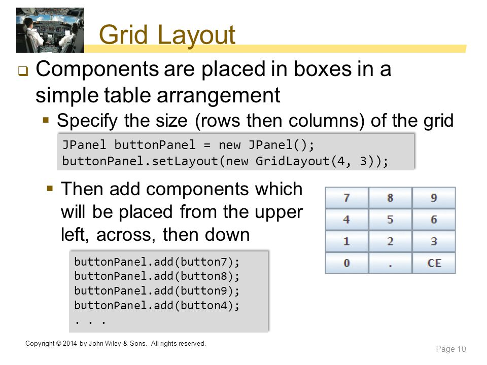 Grid Layout Components are placed in boxes in a simple table arrangement. Specify the size (rows then columns) of the grid.