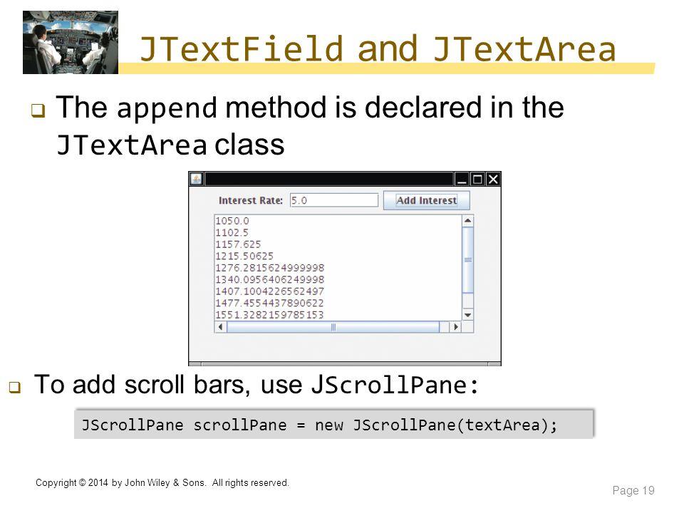 JTextField and JTextArea