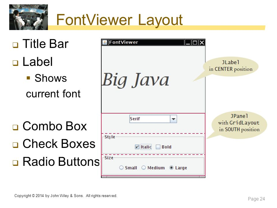 FontViewer Layout Title Bar Label Combo Box Check Boxes Radio Buttons