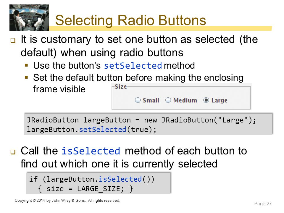 Selecting Radio Buttons