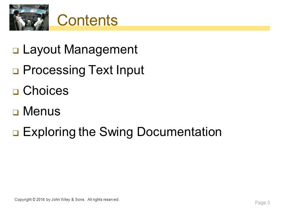 Contents Layout Management Processing Text Input Choices Menus