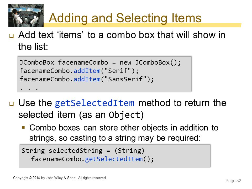 Adding and Selecting Items