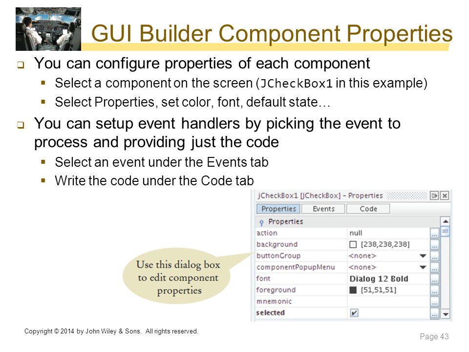 GUI Builder Component Properties
