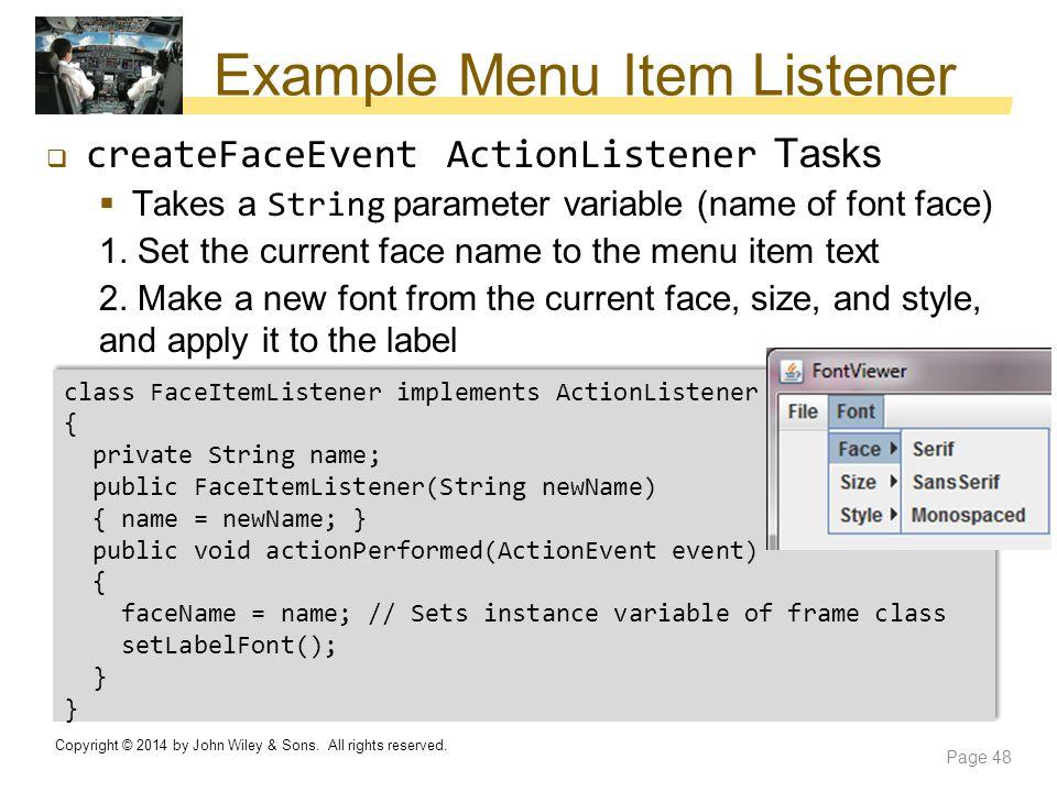 Example Menu Item Listener