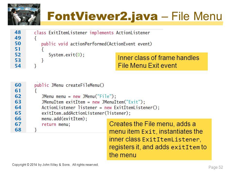 FontViewer2.java – File Menu