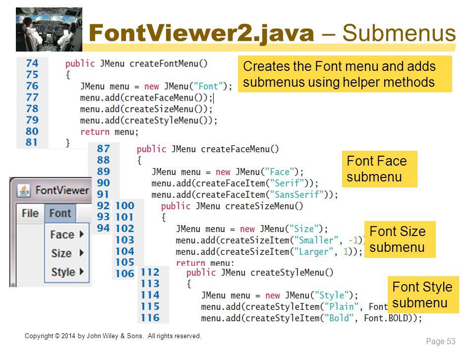 FontViewer2.java – Submenus