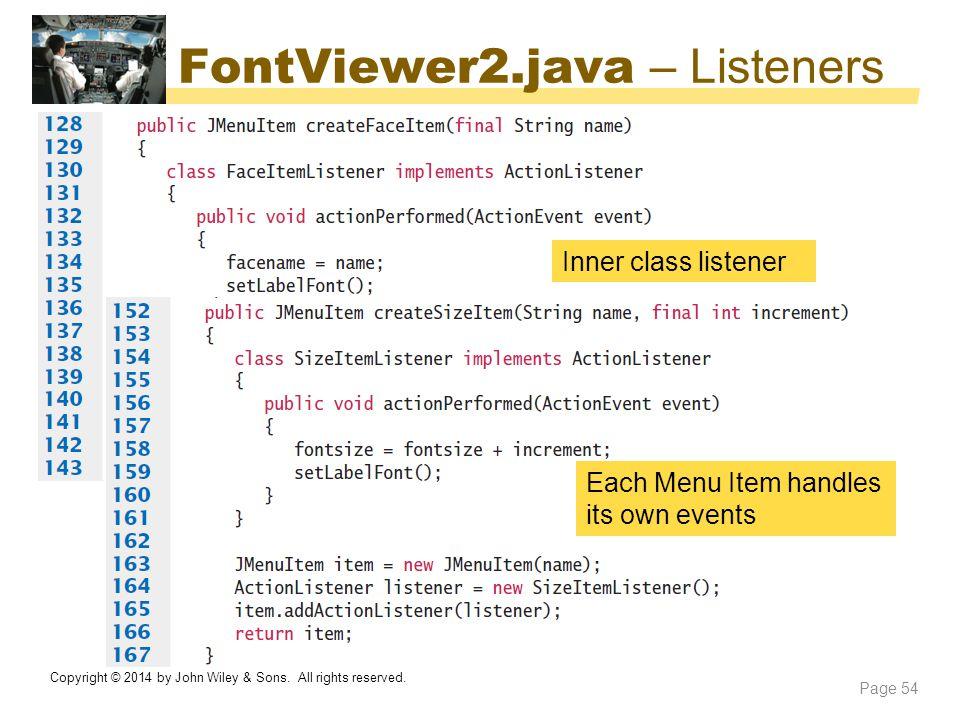 FontViewer2.java – Listeners