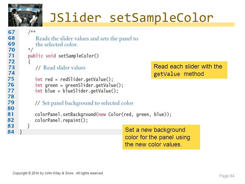 JSlider setSampleColor