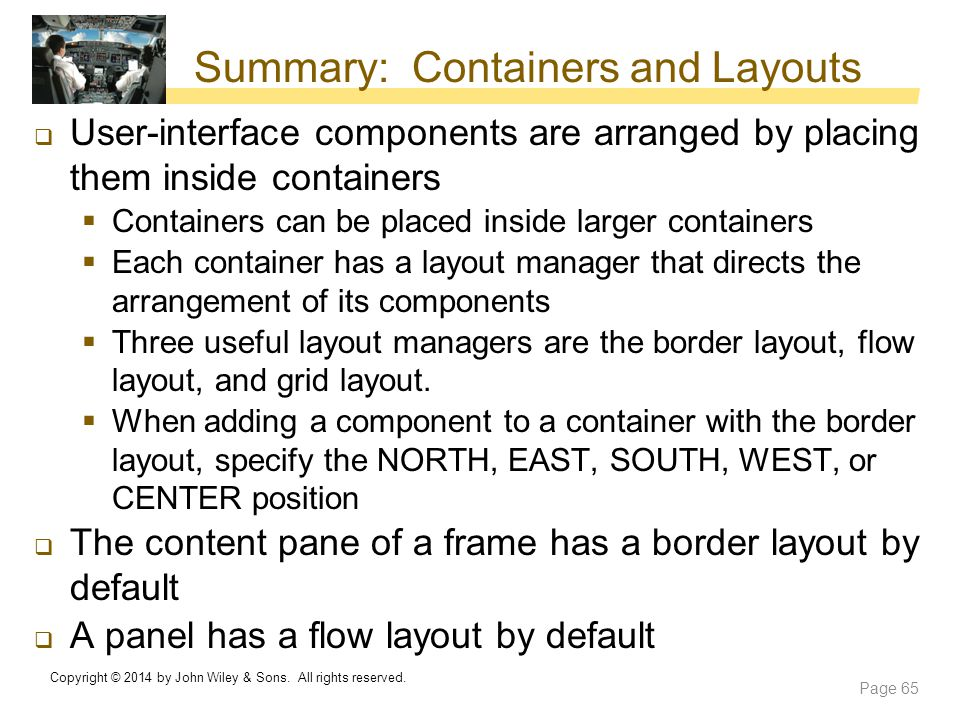 Summary: Containers and Layouts
