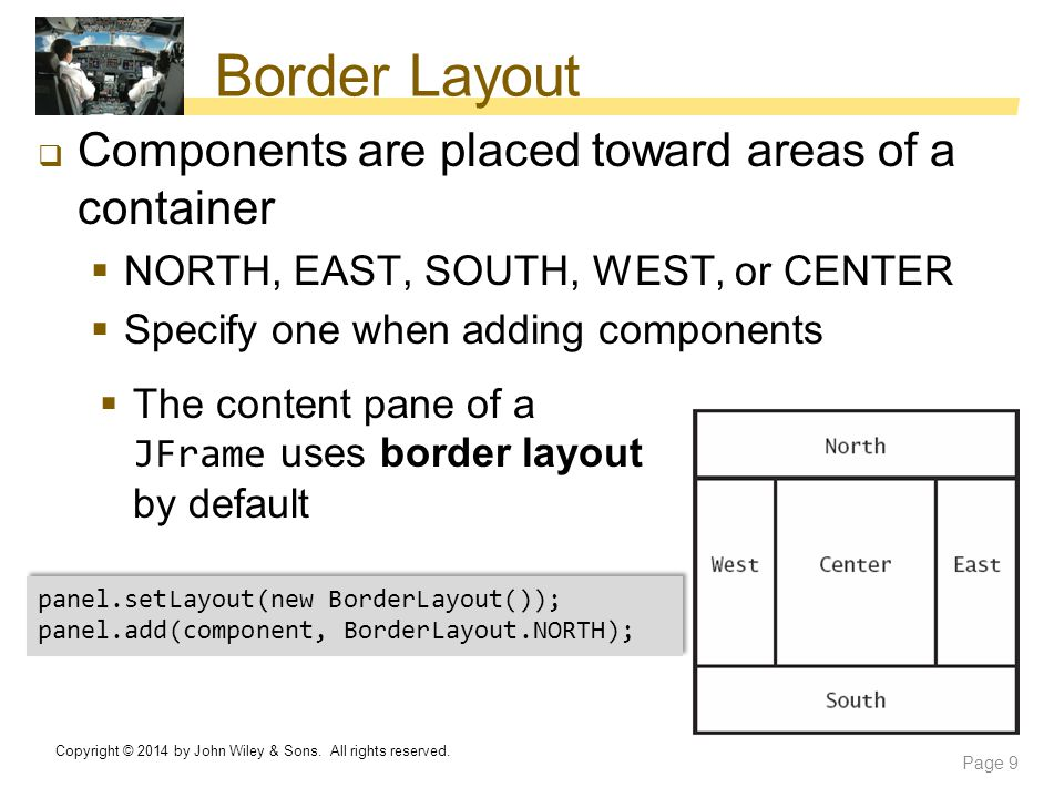Border Layout Components are placed toward areas of a container