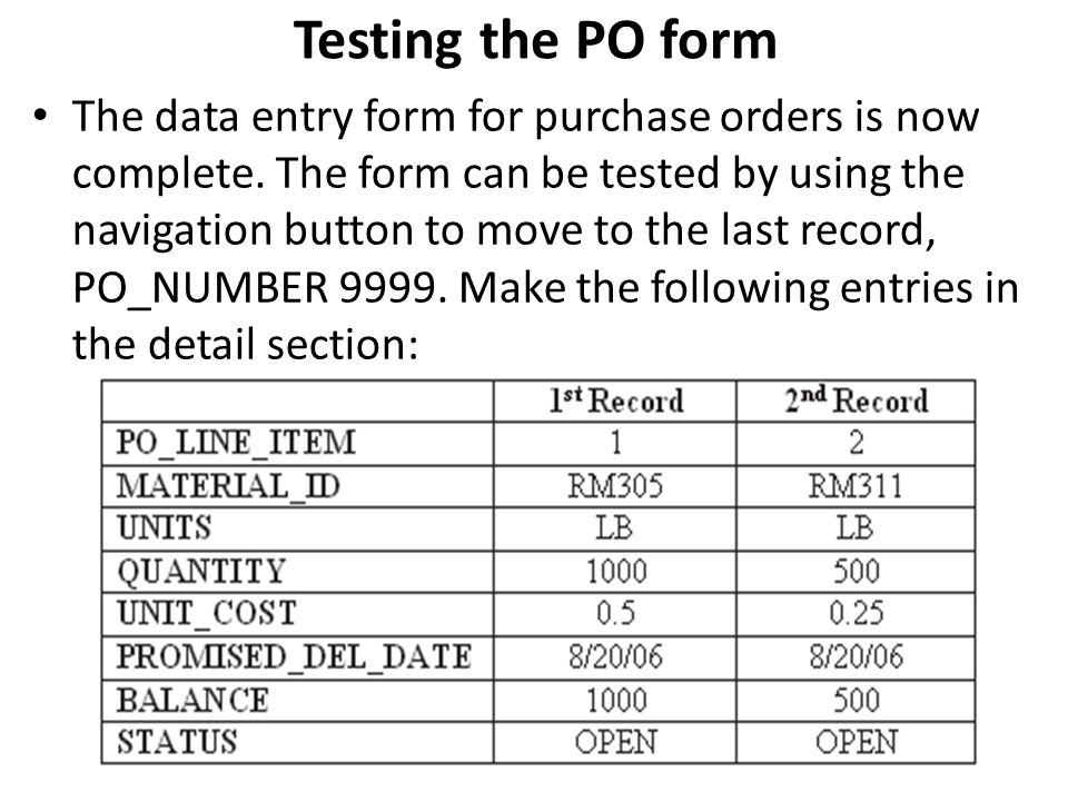 Testing the PO form
