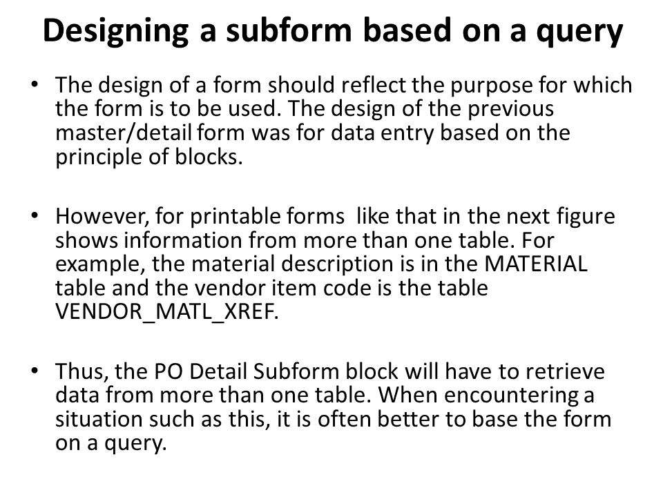 Designing a subform based on a query