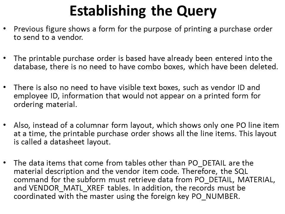 Establishing the Query
