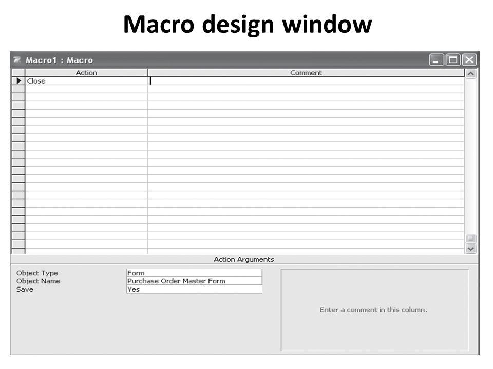 Macro design window